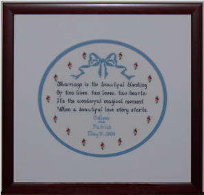 example of needlework framing with oval mat