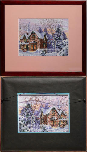 needlework framing viewable from front and back